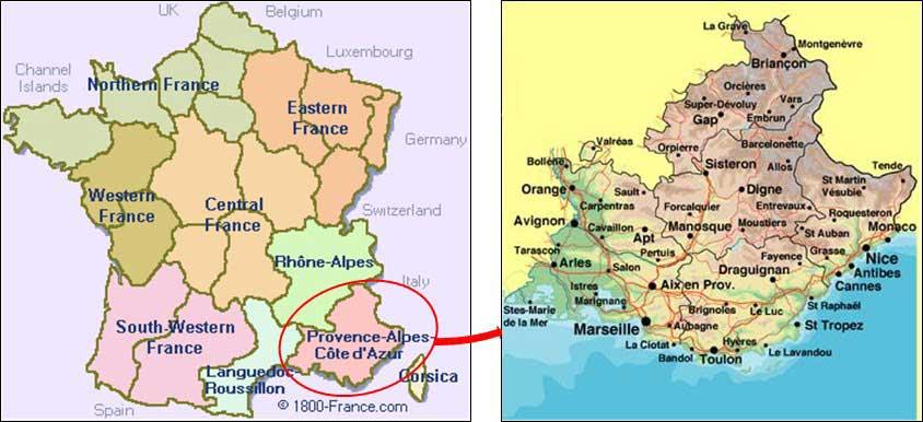 région provence carte de france