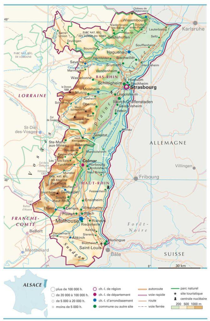 Carte d Alsace » Vacances - Arts- Guides Voyages
