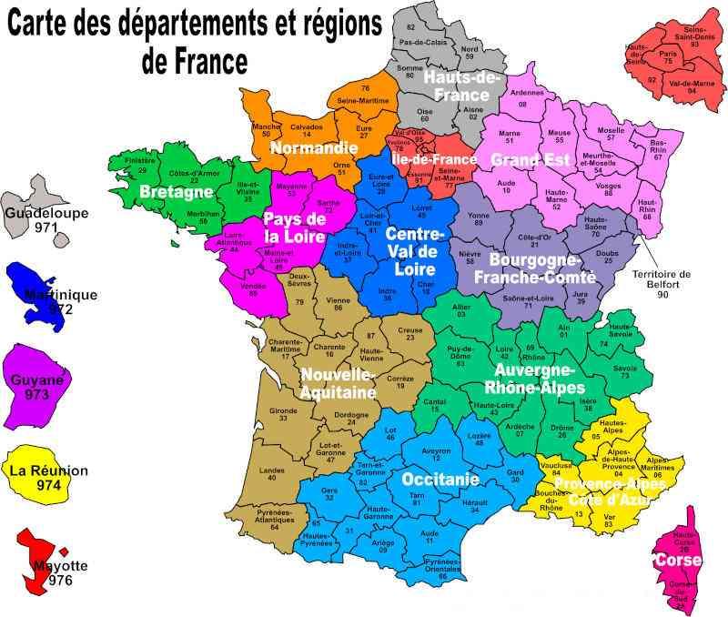 Carte de France régions 2021