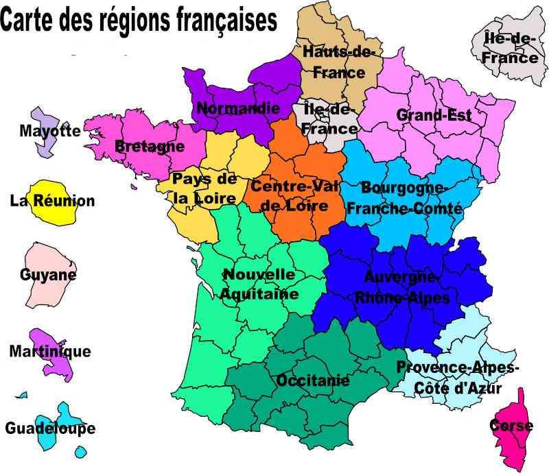 Carte de France avec noms des régions