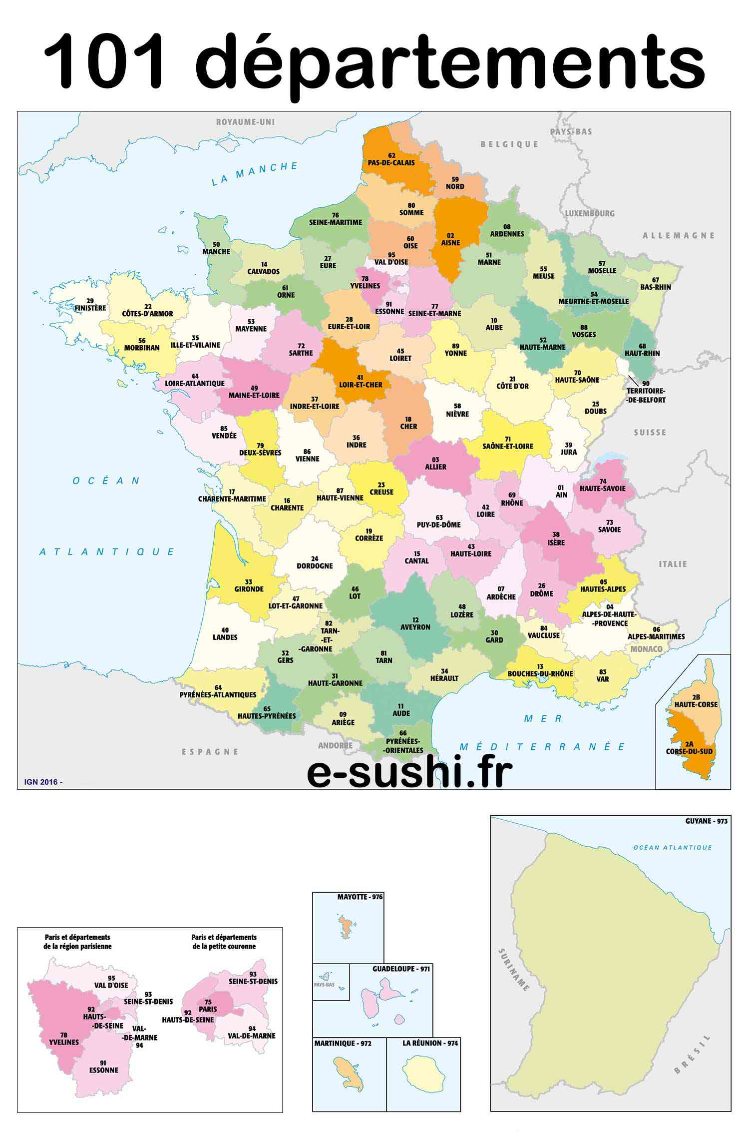 carte 101 departements