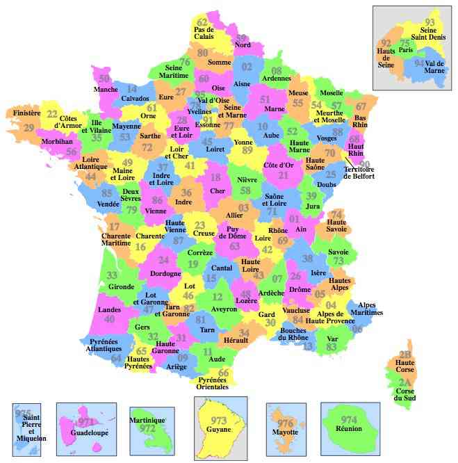 carte 101 departements
