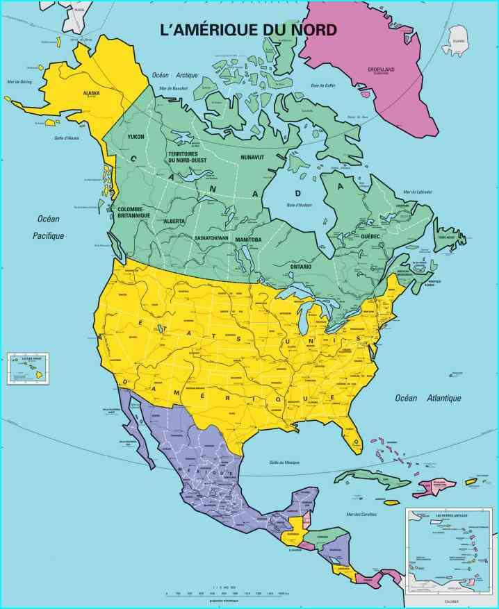 carte amerique du nord