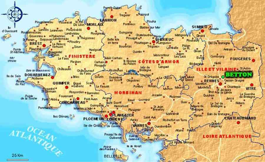 Carte Bretagne Quimper.Carte De Bretagne Nord Vacances Arts Guides Voyages