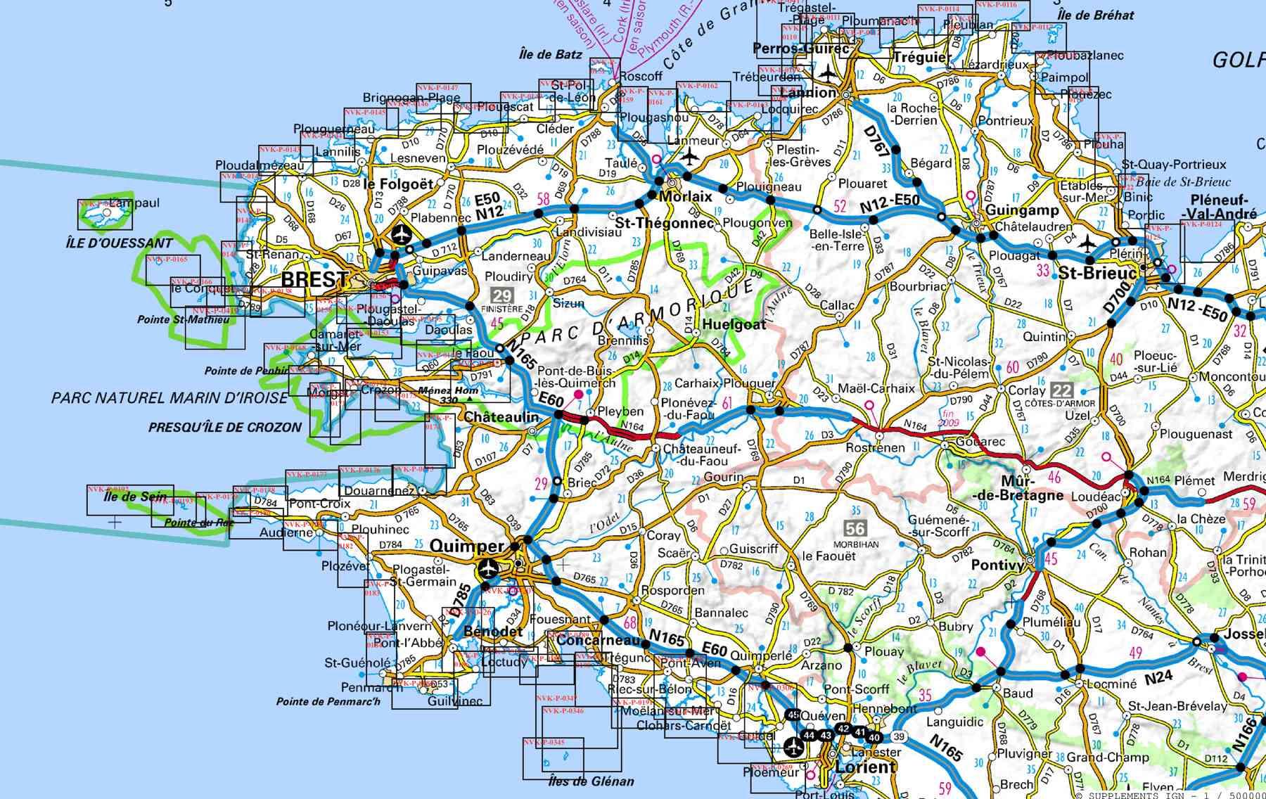 carte de bretagne sud itineraire