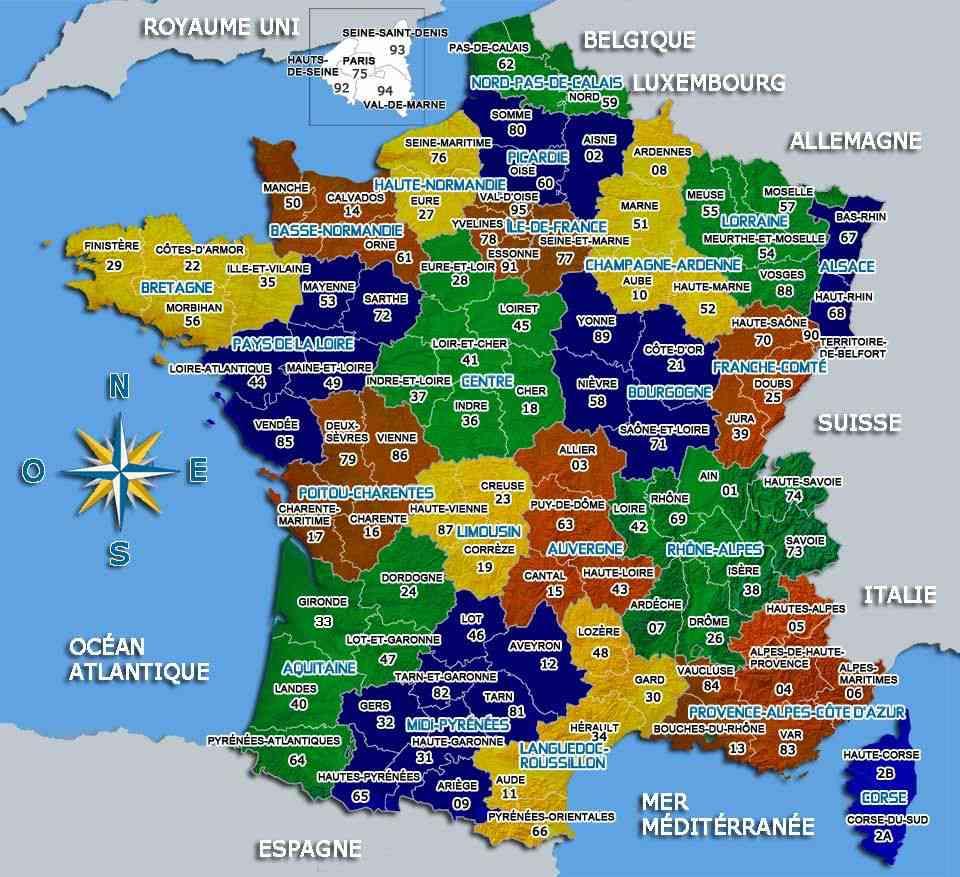 carte de france departements villes et regions