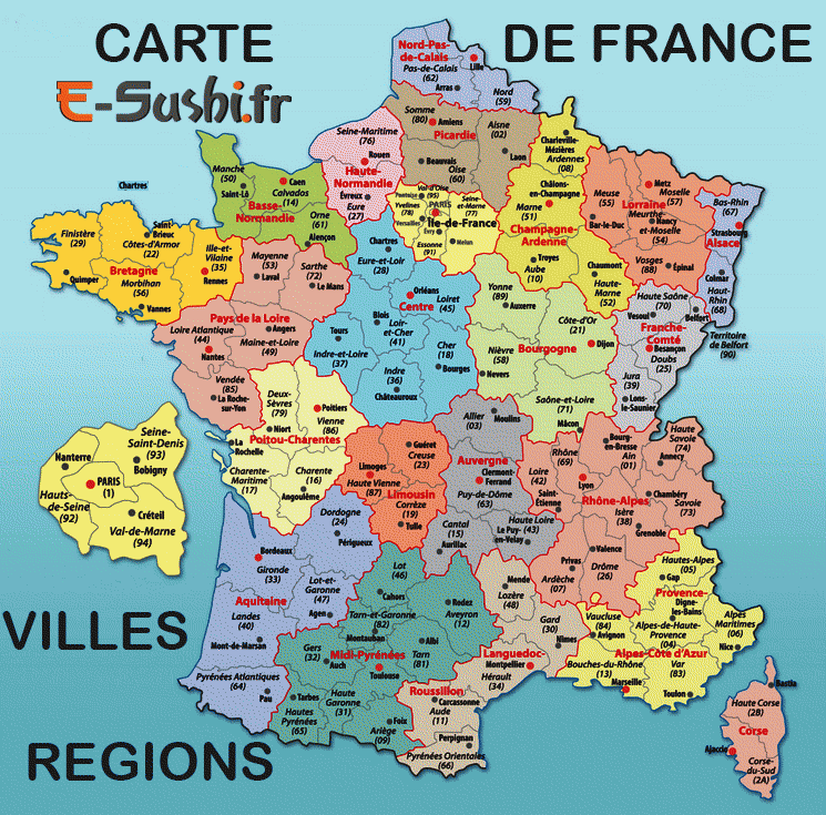 carte de france departements villes et regions
