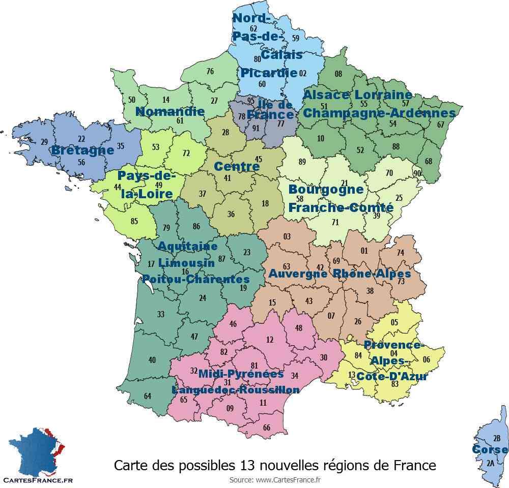 Carte de France Régions et Départements français » Vacances - Arts- Guides Voyages