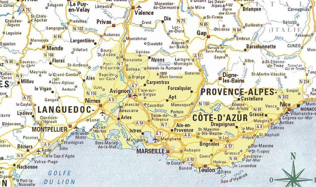 Carte du Sud de la France détaillée