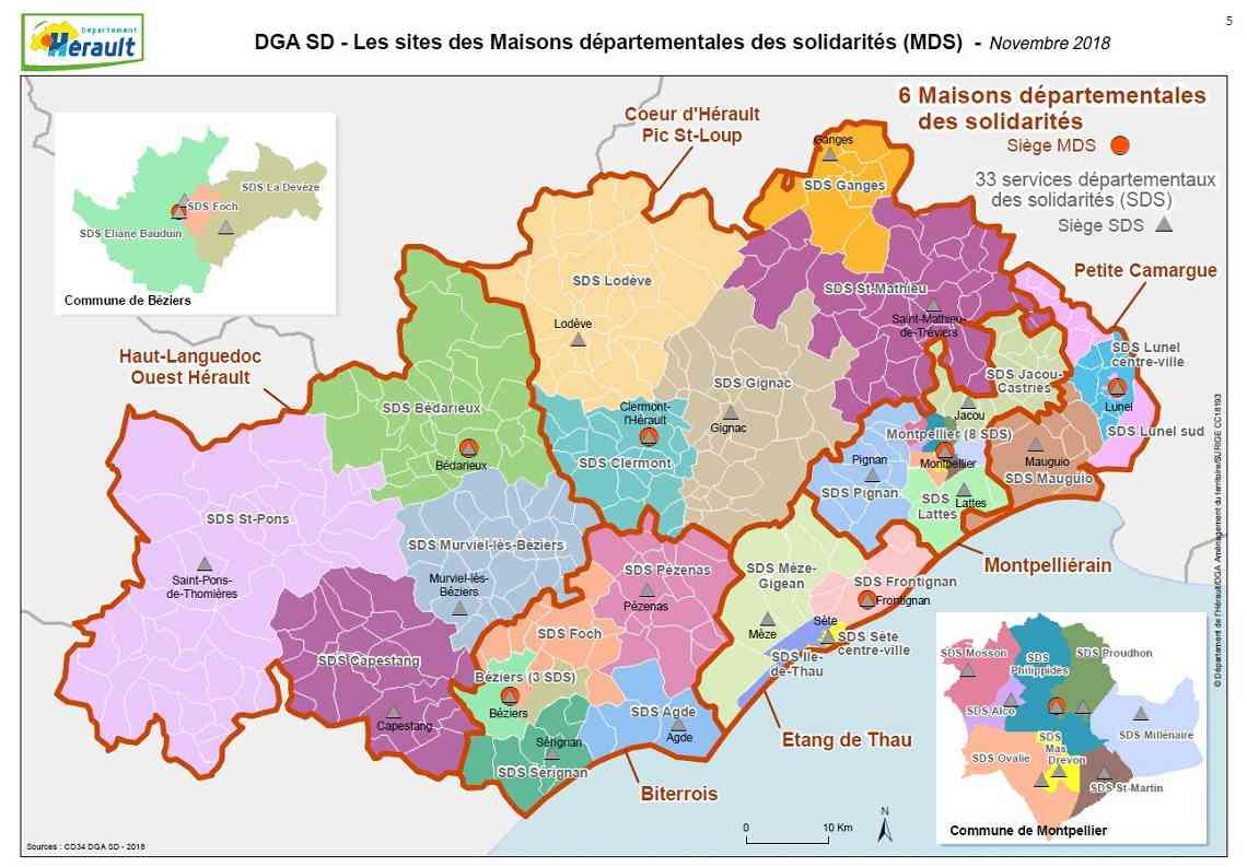 Carte de l Hérault » Vacances - Arts- Guides Voyages