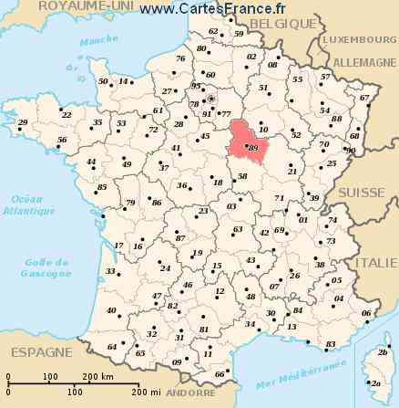 carte departement yonne