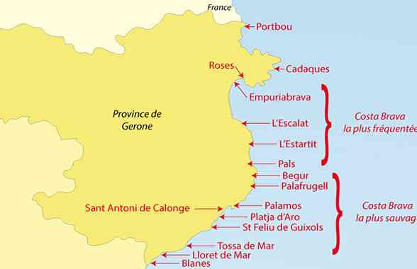 Costa Brava Costa Dorada Karte.Carte Espagne Costa Images Vacances Arts Guides Voyages