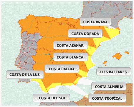 carte espagne costa