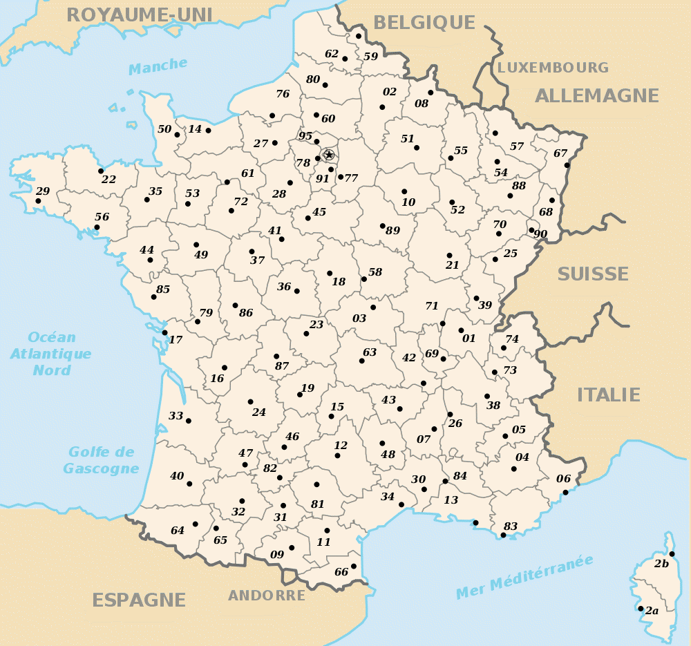carte france departements