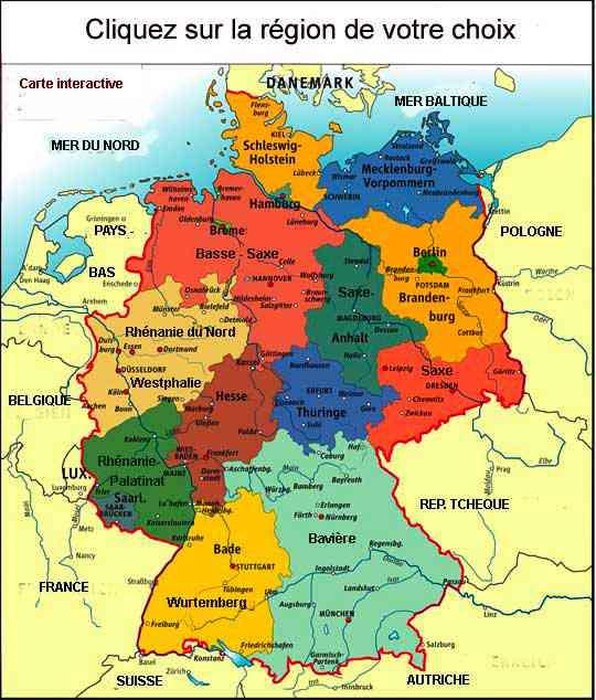 carte geographique de l allemagne