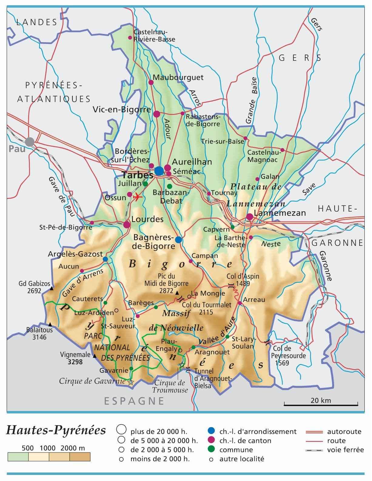 carte hautes pyrenees