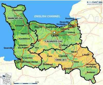 carte geographique de basse normandie