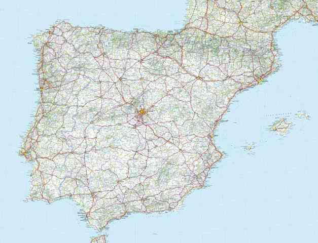 carte routiere espagne portugal