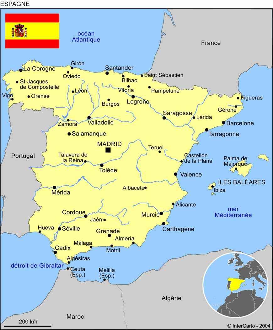 Espagne   Carte géographique » Vacances   Arts  Guides Voyages