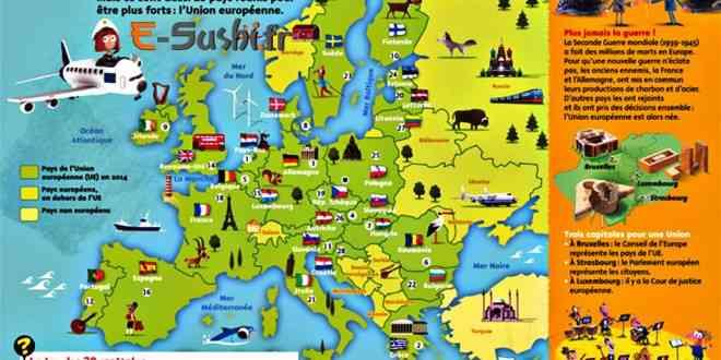 europe carte avec symboles des pays