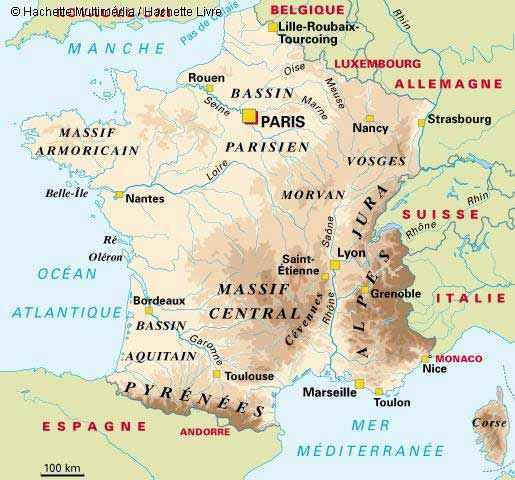 France - Carte géographique » Vacances - Arts- Guides Voyages