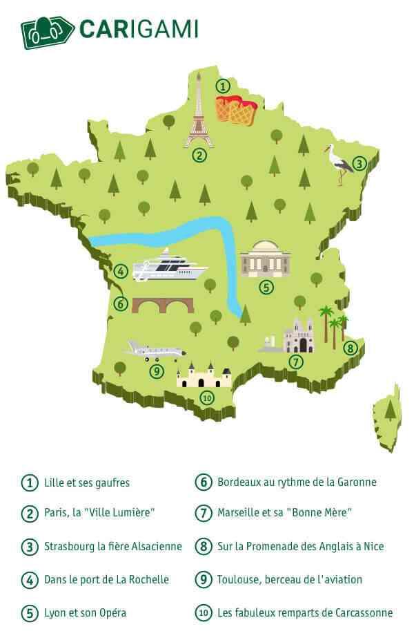 Tourisme en France - Carte des Villes principales ...