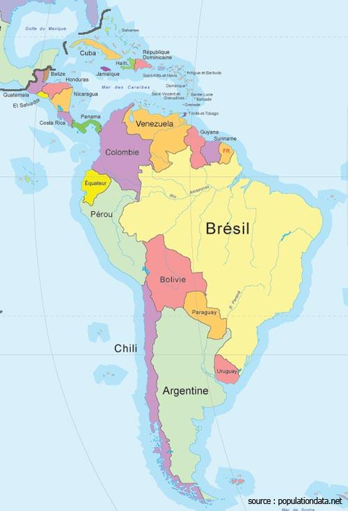 Amérique du Sud carte géographique