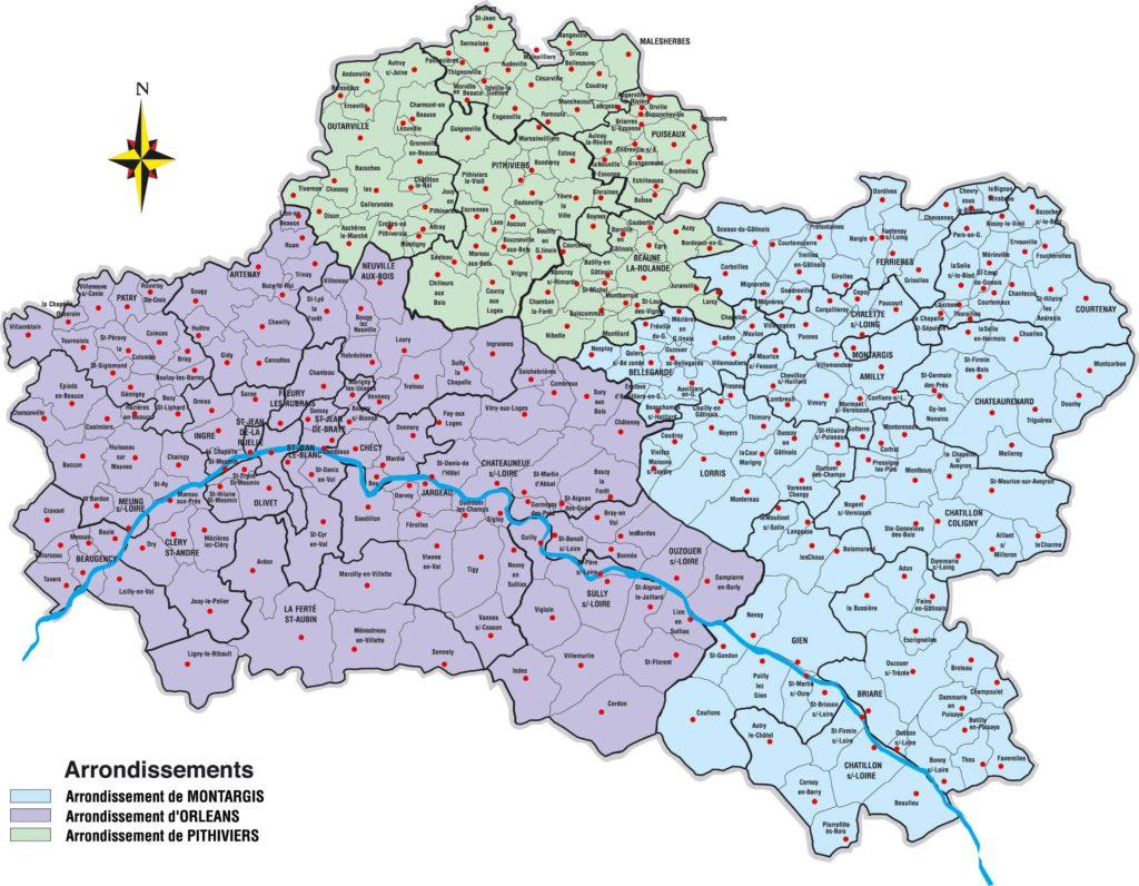 Carte du loiret vacances arts guides voyages for Region loiret