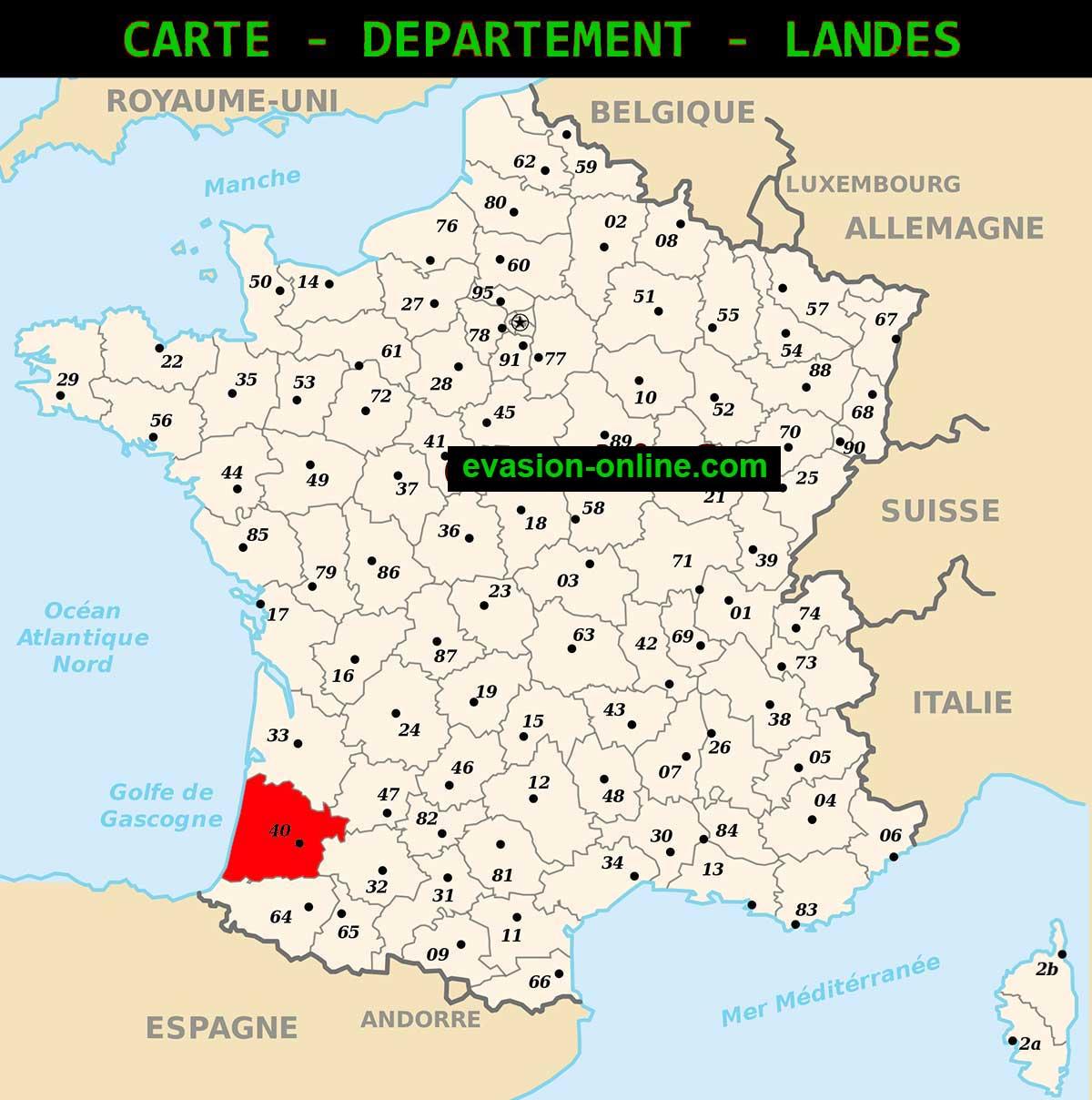 Carte - Département Landes » Vacances - Arts- Guides Voyages