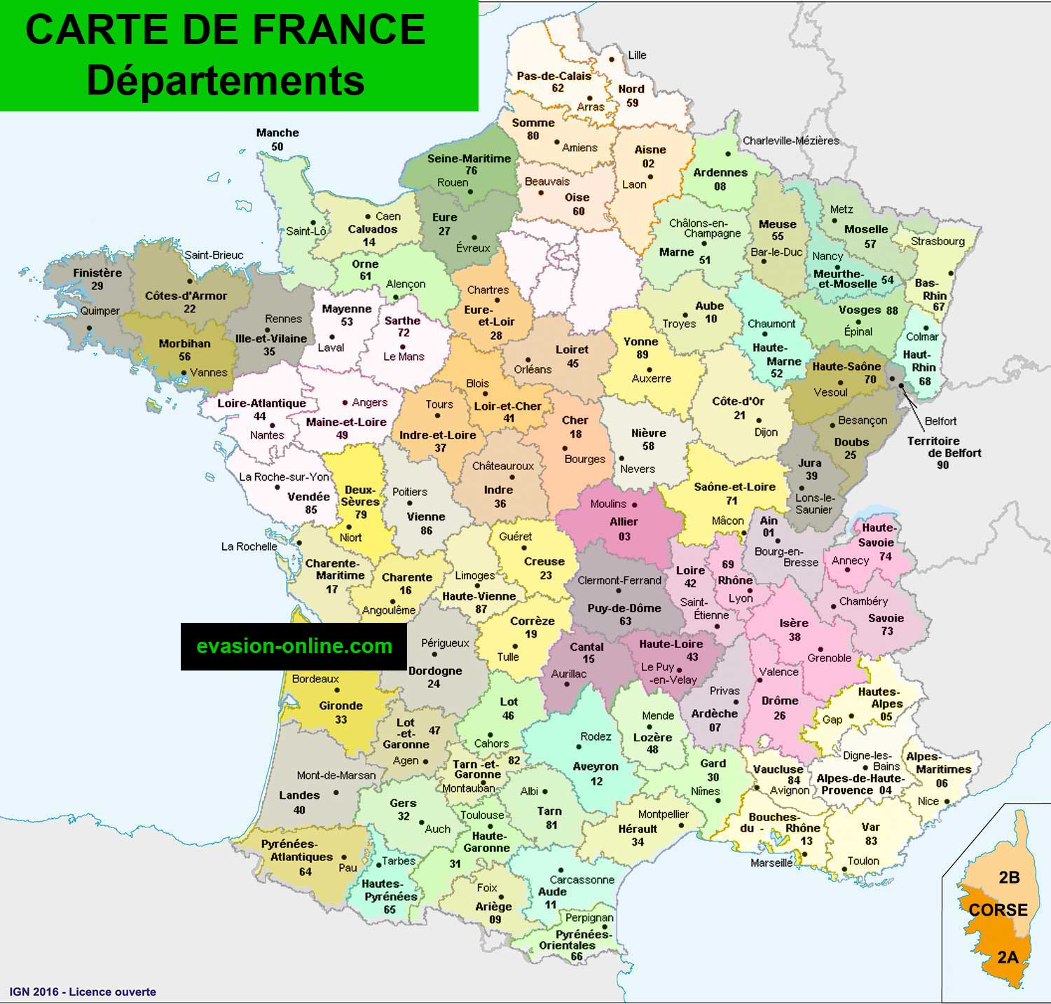 Carte France départements » Vacances - Arts- Guides Voyages