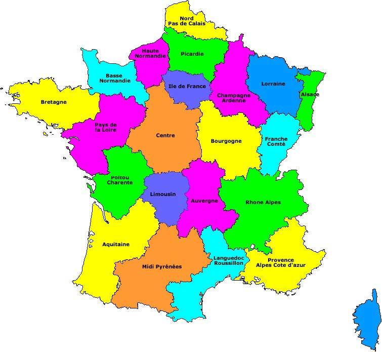 Carte régions France