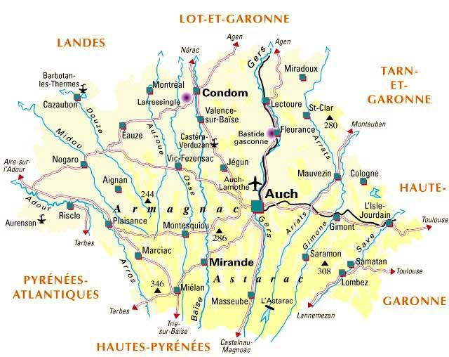 Carte du Gers - Département 32
