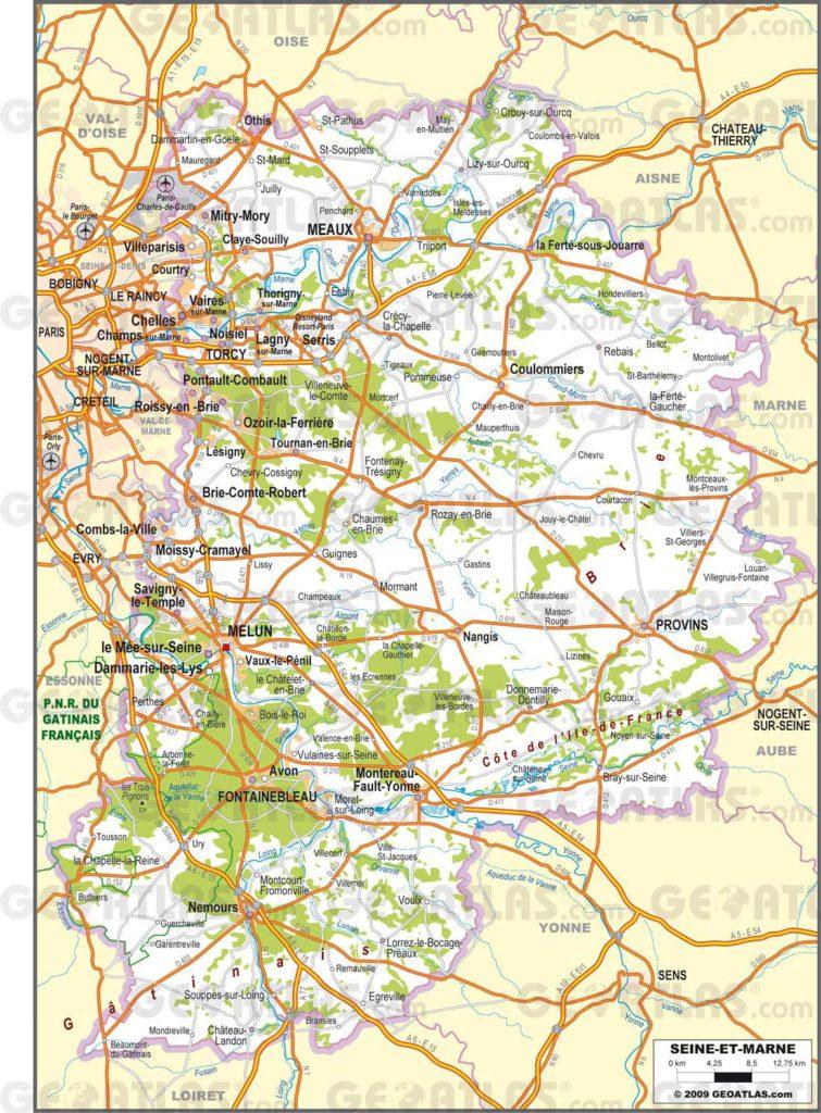 Carte routière de Seine et Marne