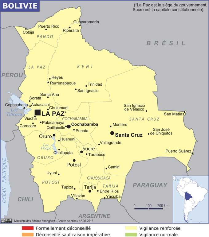 Carte géographique de la Bolivie