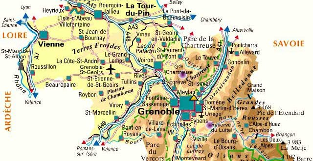 Carte du département Isère