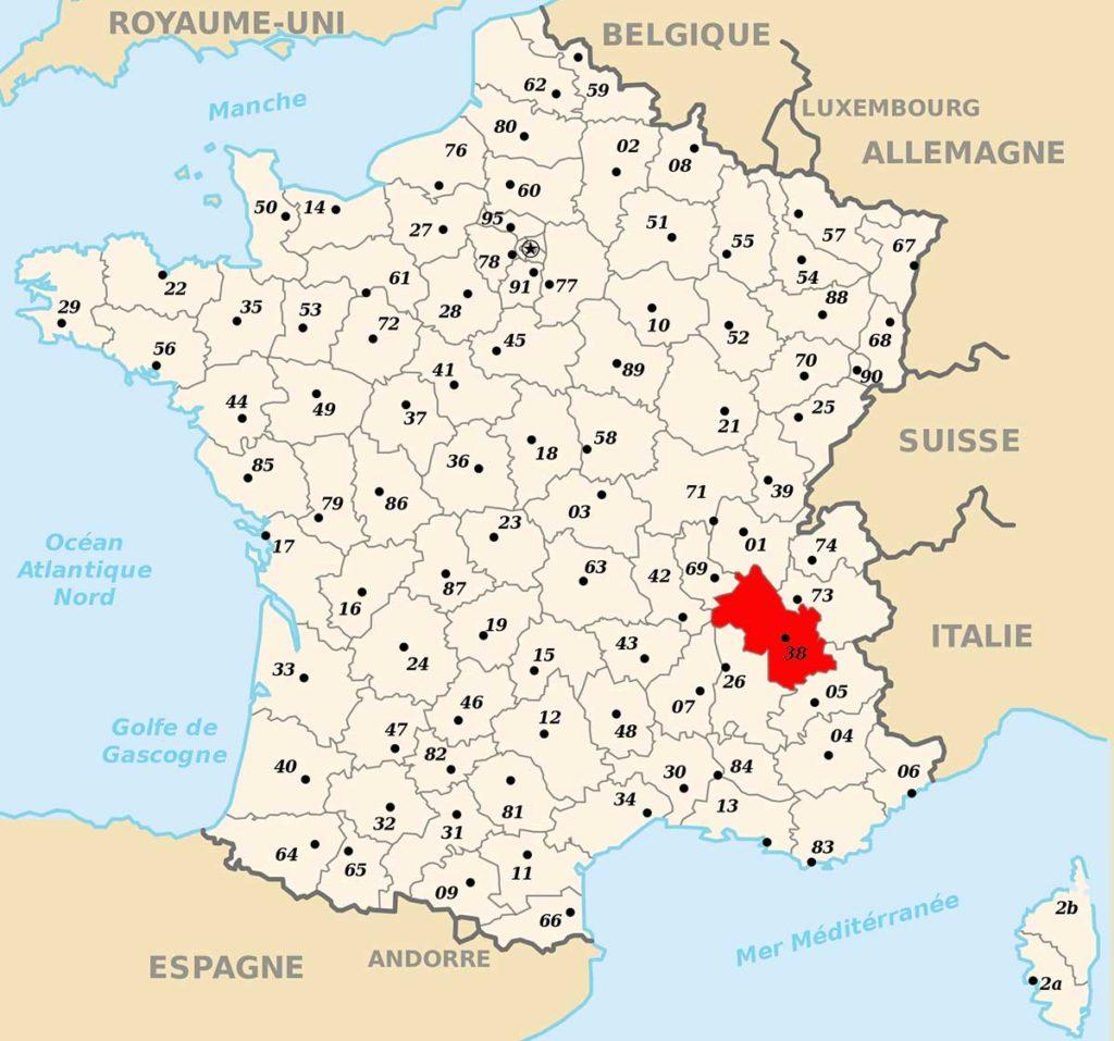 Département de l'Isère - Carte de France