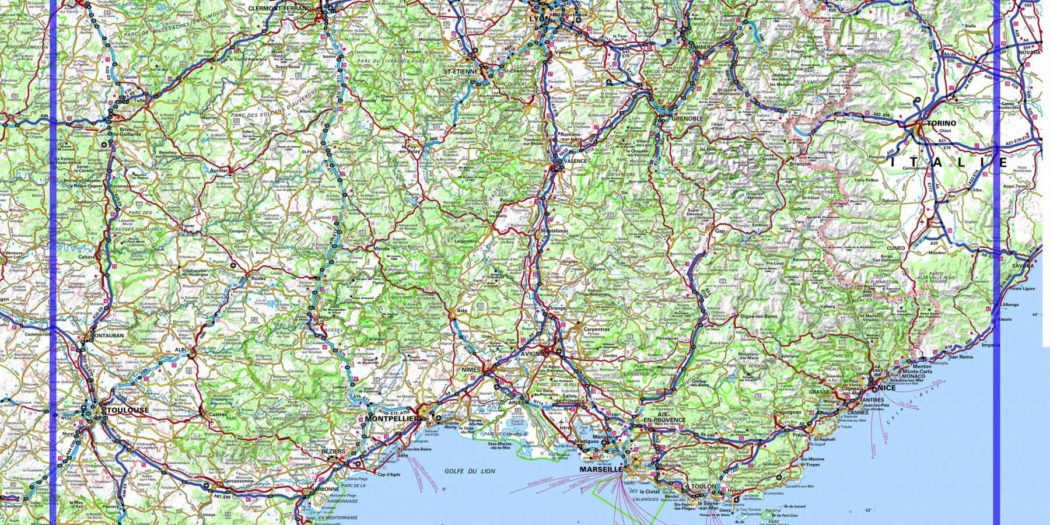 Carte routière de France - Sud Est