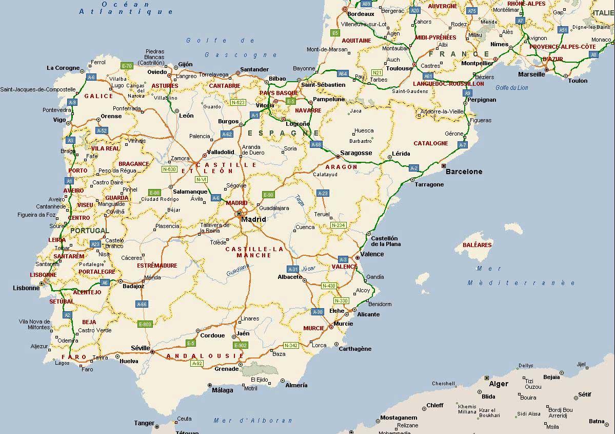 carte-espagne-portugal-autoroutes