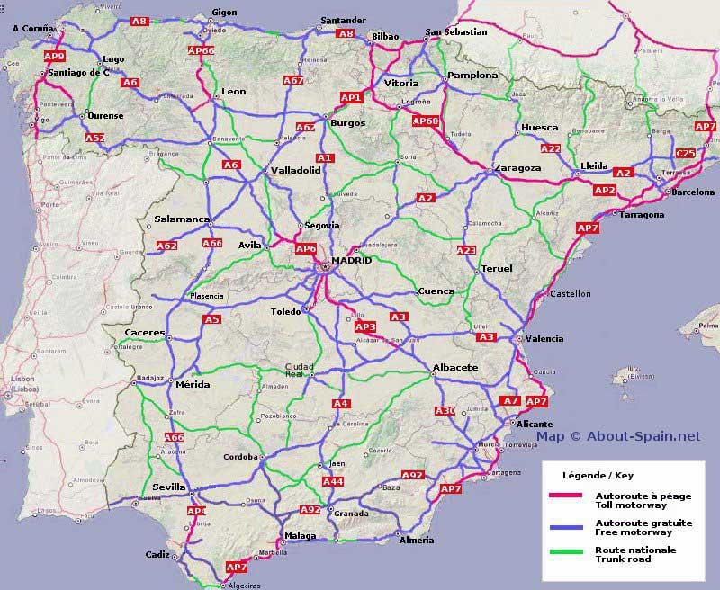 Carte routière détaillée