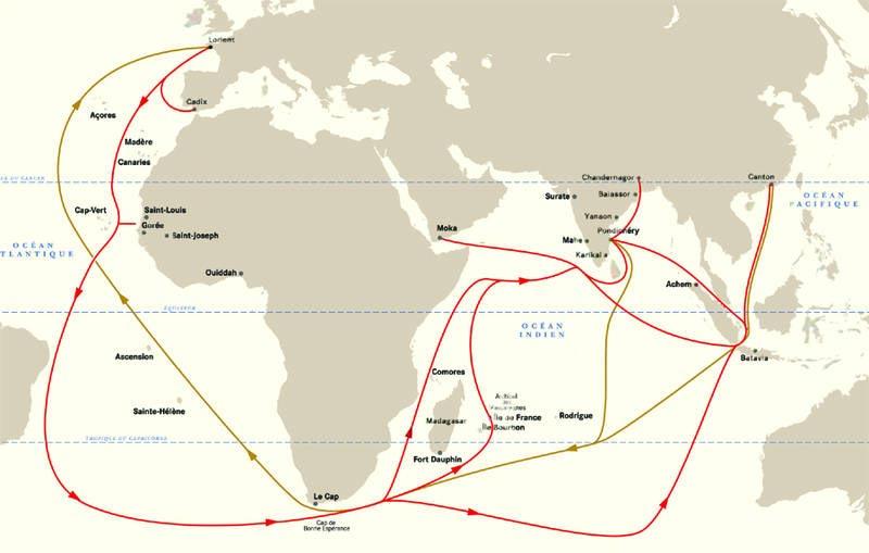 Carte Compagnie des Indes