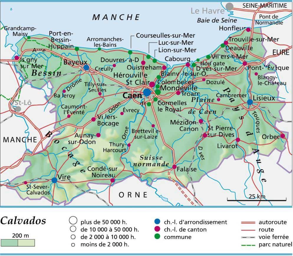 Carte département Calvados » Vacances - Arts- Guides Voyages