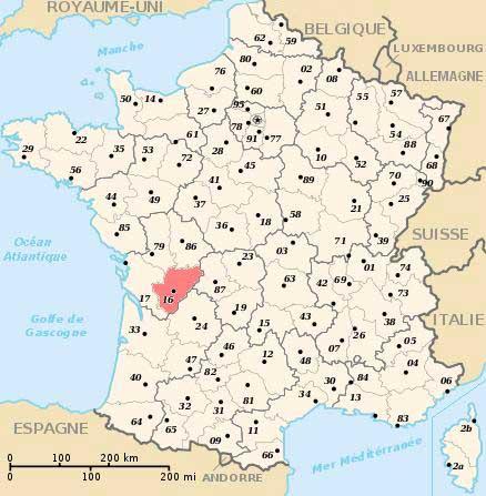 Carte département Charente