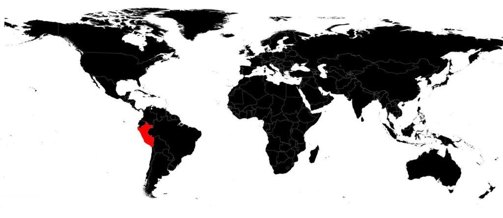Pérou sur la carte du monde