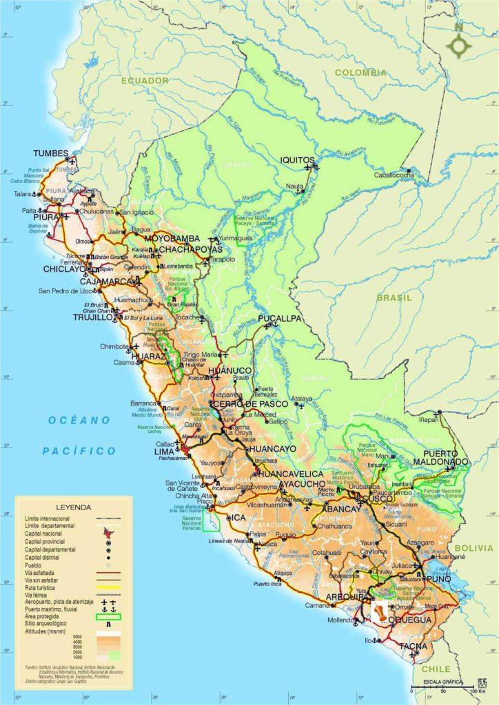 Pérou carte typographique
