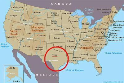 Texas sur la carte des états-unis