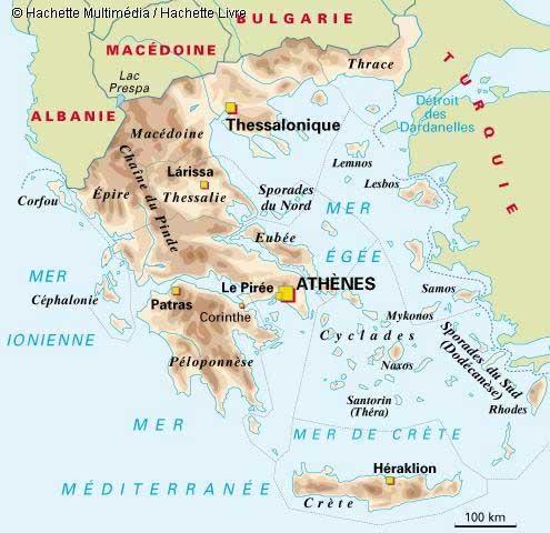 Carte géographique de la Grèce