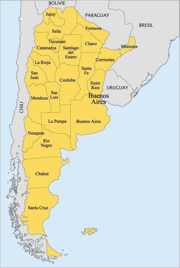 Carte des états d'Argentine