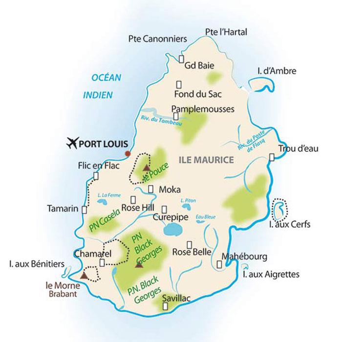 Carte Ile Maurice - circuit touristique