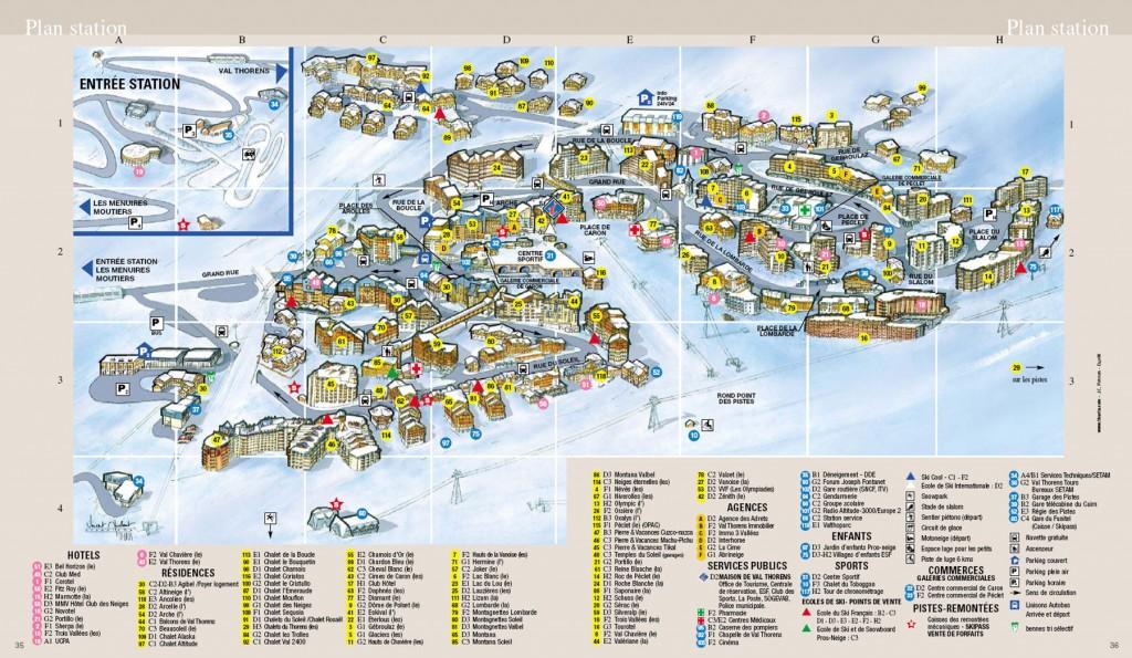 carte des pistes de ski de Val Thorens