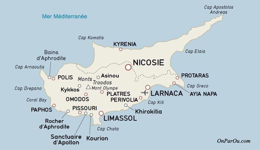 Carte de Chypre - Villes touristiques